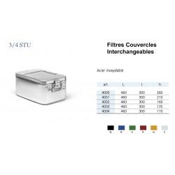 Conteneurs Filtres Couvercles Interchangeables Taille 3/4, acier inox