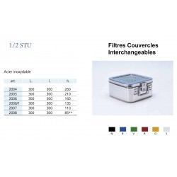 Conteneurs Filtres Couvercles Interchangeables Taille 1/2, acier inox